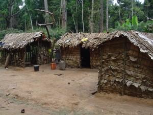 Häuser von einheimischen Bewohnern der Republik Kongo